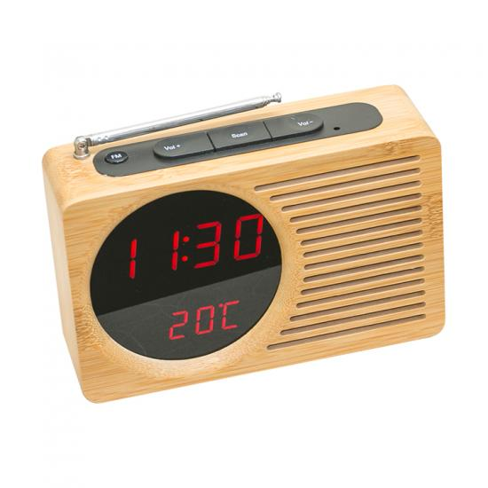 FM radio wooden LED table clock temperature display