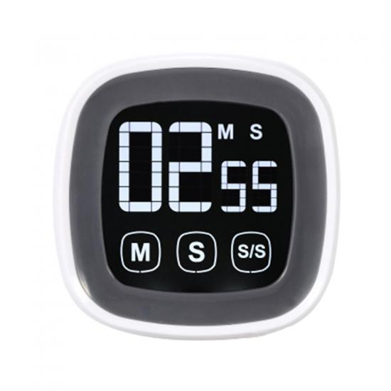 Large touch screen kitchen countdown timer with stand and magnet back