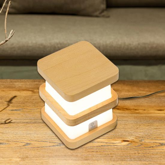 wooden frame and nightlight bedside lamp