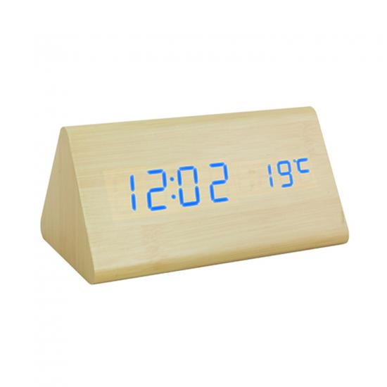LED digital voice control wooden table clock