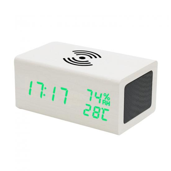 bluetooth speaker with wireless charger and alarm clock with temperature and humidity