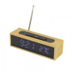 FM radio wooden LED table clock