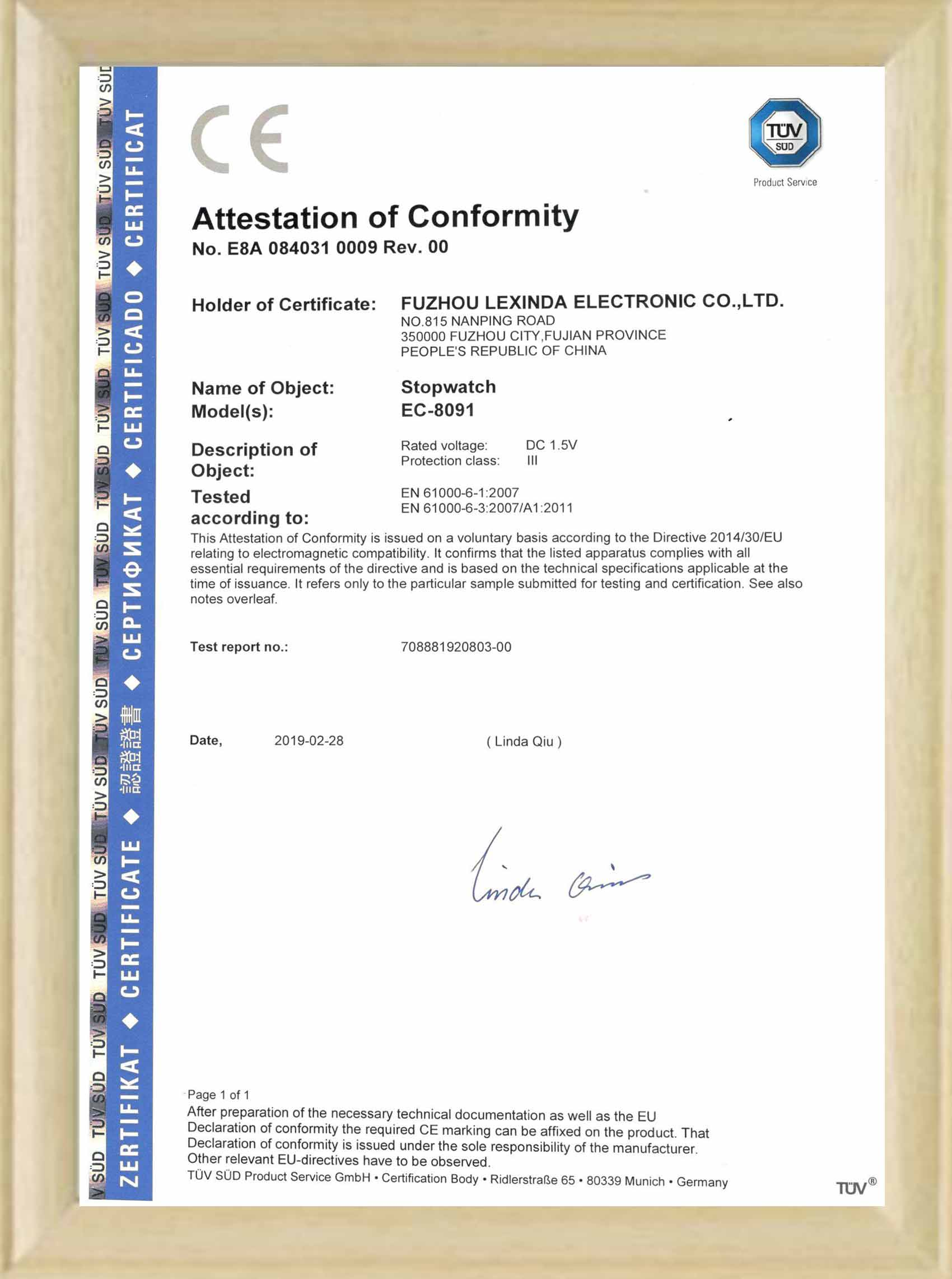 CE certificate for stopwatch